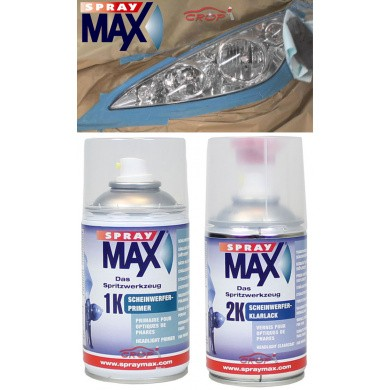 SPRAYMAX Headlight Repair Set, 2 x 250ml 2K Clear Coat + Primer