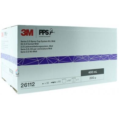3M 26112 PPS 2.0 Kit Midi 400ml - 200mu - 50 binnenbekers + deksels