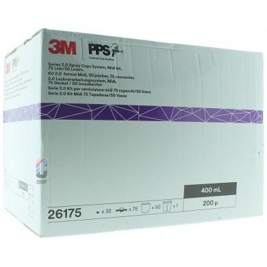 3M 26175 PPS 2.0 Kit Midi 400ml - 200mu - 50 binnenbekers + 75 deksels
