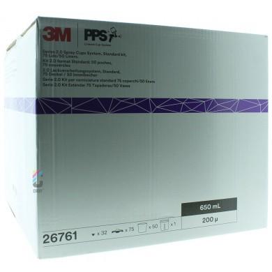 3M 26761 PPS 2.0 Kit Standaard 650ml - 200mu - 50 binnenbekers + 75 deksels
