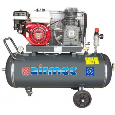 AIRMEC CRS105 Mobile Oil Lubricated Piston Compressor with Gasoline Engine - 350 ltr/min,  5.5 hp