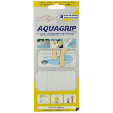 AQUA SAFETY GRIP Anti-Slip Tape Transparant (8 strips van 20x240mm)