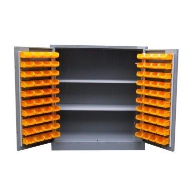 Bakkenkast met deuren (incl. 2 legborden en 80 kunststof bakken)