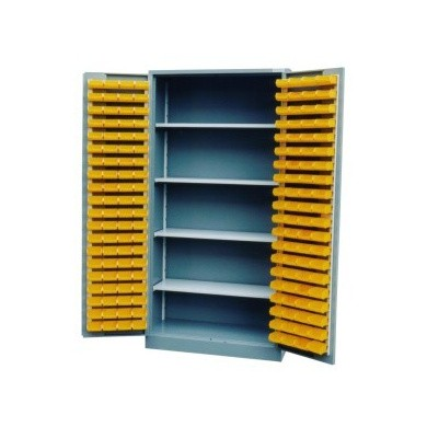 Bakkenkast met deuren (incl. 4 legborden en 160 kunststof bakken)