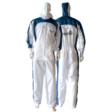 FINIXA Racing Spray Overall with Hood - Blue / White