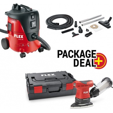 FLEX ODE 100-2-SET Delta Sander + VC 21 L MC Safety Vacuum Cleaner 1250 Watt with 20 litre container PACKAGE-DEAL
