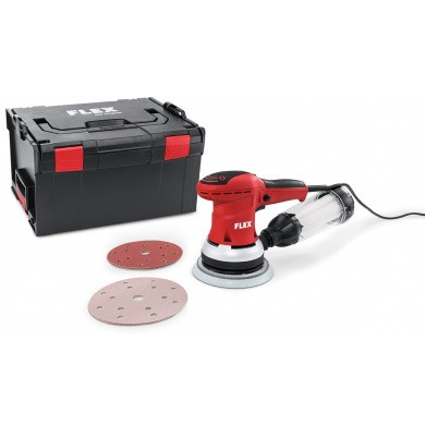 FLEX ORE 150-SET Random Mini Orbit Palm Sander 150mm with speed control, integrated dust extraction, microfilter cartridge with filter, sanding paper and carrying case