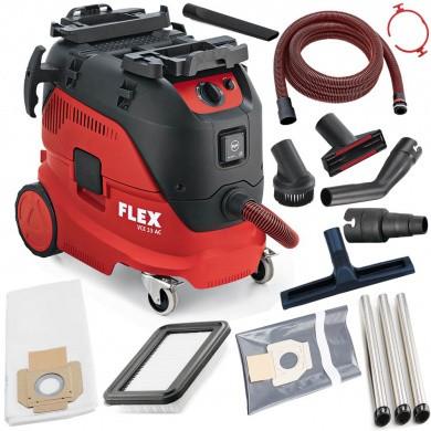 FLEX VCE 33 L AC-Kit Industrie Schuurstofzuiger 1400 Watt met 30 liter ketel, automatische filterreiniging inclusief accessoires & reinigingsset Klasse L