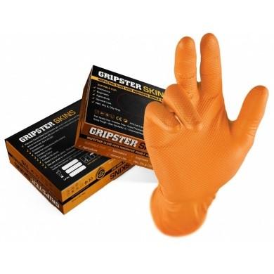 GRIPSTER Nitril Handschoenen met Grip - Oranje - 50 stuks