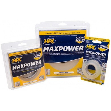 MAX-POWER Dubbelzijdig Tape 19mm x 2 meter - Transparant