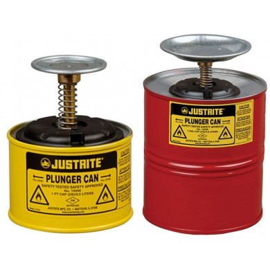 JUSTRITE Metal Plunger Can - Red & Yellow