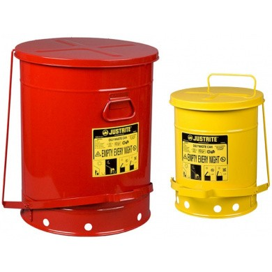 JUSTRITE Metal Waste Disposal Safety Container - Red & Yellow