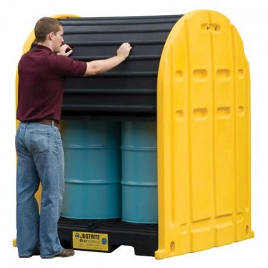 JUSTRITE EcoPolyBlend DrumShed PE storage depot for hazardous substances with Rolltop doors