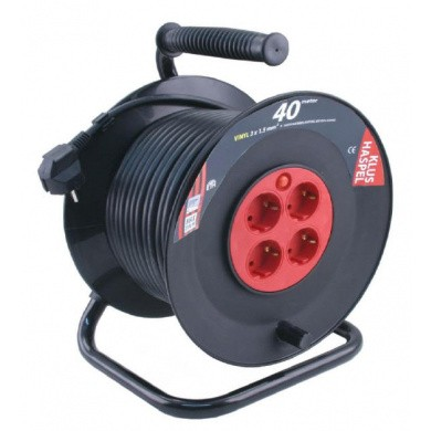 Plastic Cable Reel with 4 Connections and Span Protection - 40 meter