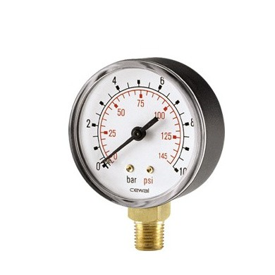 Analogue Pressure Gauge Ø 50 mm 0-16 Bar with Under Connection