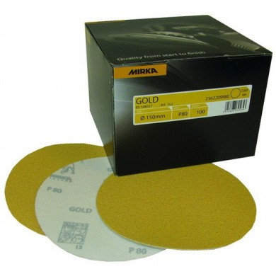 MIRKA GOLD Sanding Discs without Holes - 150mm, 100 pieces