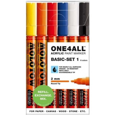 MOLOTOW One4All 127HS Premium Acrylic Marker 2mm - BASIC-SET 1
