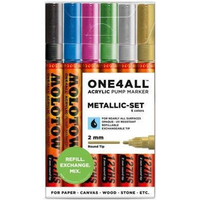 MOLOTOW One4All 127HS Premium Acrylic Marker 2mm METALLIC-SET