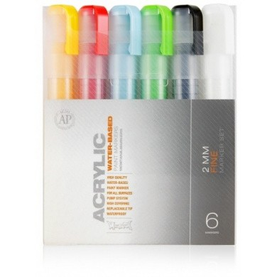 MONTANA Acrylic Marker Set - 2mm, 6 pieces