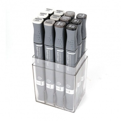 MONTANA Alpha Design Twin Markers - Warm Grey, 12 pieces