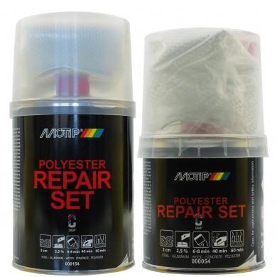 MoTip 2K Polyester Reparatieset met Glasvezelmat + Verharder