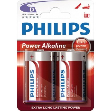 PHILIPS Power Alkaline LR20 / D Batterijen 2-pak