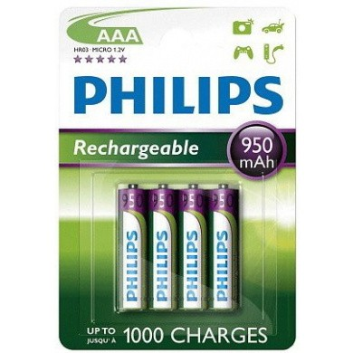 PHILIPS LR03 / AAA / Micro 2100 mAh Rechargeable NiMH Batteries 4-Blisterpack