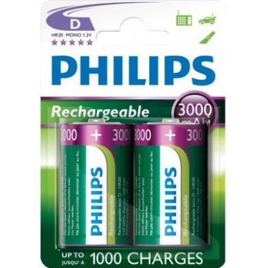 PHILIPS LR20 / D / Grote Staaf 3000 mAh Oplaadbare Batterijen 2-pak