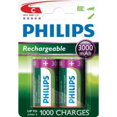 PHILIPS LR14 / C / Baby 3000 mAh Rechargeable NiMH Batteries 2-Blisterpack