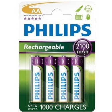 PHILIPS LR6 / AA / Penlite 2100 mAh Rechargeable NiMH Batteries 4-Blisterpack
