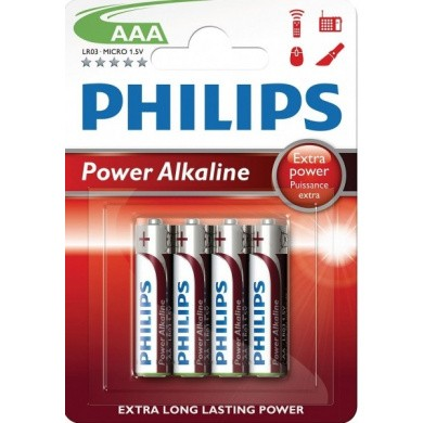 PHILIPS Power Alkaline LR03 / AAA / Micro Batterijen 4-pak