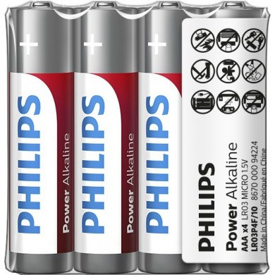 PHILIPS Power Alkaline LR03 / AAA / Micro / Potloodcel Batterijen in 4-Shrink Pack