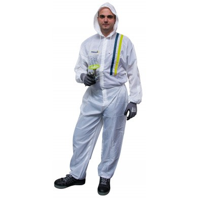 Transparent White Polyester Spray Overall with Hood