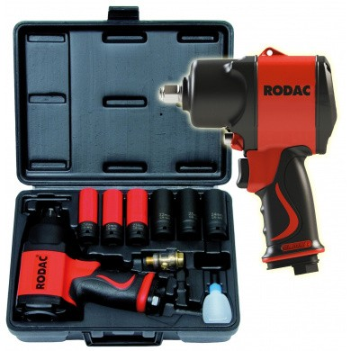 Rodac RC2780BC Slagmoersleutel 1/2 inch in koffer met krachtdoppen