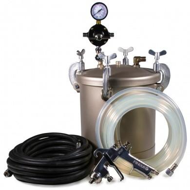 Drukvat 10 liter met spuitpistool, materiaalslang en luchtslang