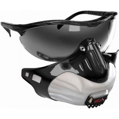 FMP2 Smoke Stealth-Mask Safety Glasses with Fine Dust Mask