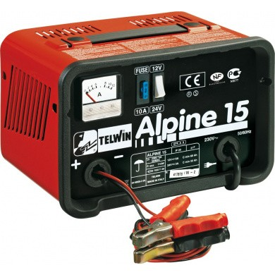 TELWIN ALPINE 15 Draagbare electrische acculader 12V+24V / 9Amp / 110Watt