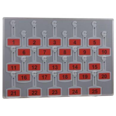 Wandplaat voor 25 genummerde hangers voor achteruitkijkspiegel