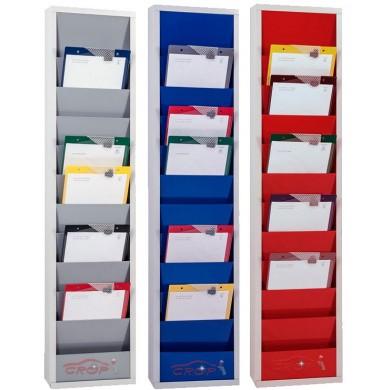 Werkorder planbord METAAL met 1 rij en 10 sleuven - 3 Kleuren