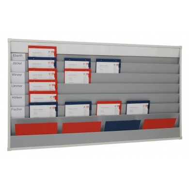 Werkorder planbord met 5 rijen en 6 sleuven voor individuele etikettering
