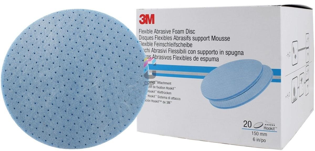 3m 150mm Wet//Dry Flexible Abrasive Blue Foam Abrasive Disc 33542 Box 20 P1200
